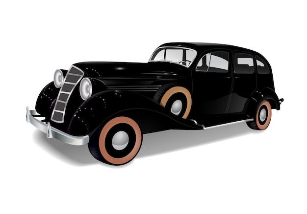 Carro de trenó velho, preto auto