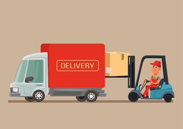 Carro de van de serviço de entrega.