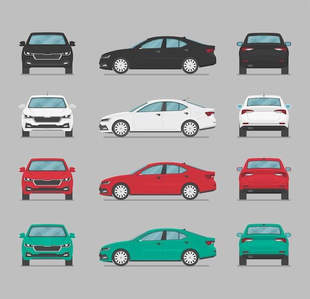 Carro definido em vistas diferentes