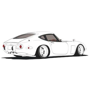 Carro desenhado à mão. ilustração retro do carro esboçada a mão.