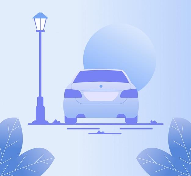 Carro dirigindo ao longo da rua à noite cena romântica