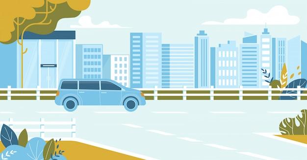 Carro dirigindo na paisagem urbana