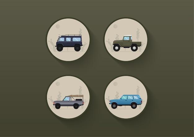 Carro do deserto, conjunto de carro off road e ilustração de fundo cacto