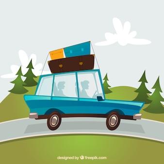 Carro dos desenhos animados viajando