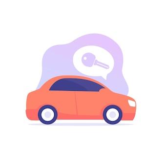 Carro e chave, ilustração vetorial