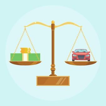 Carro e dinheiro em escalas de equilíbrio. compra de automóveis, compra de veículos. pilhas de dólares e moedas de ouro