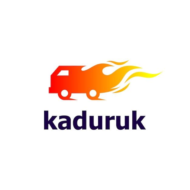 Carro e fogo para design de logotipo automotivo