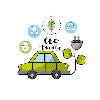 Carro ecológico com cabo de alimentação com folhas