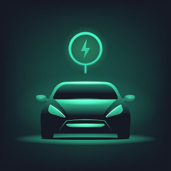 Carro elétrico com brilho verde sobre fundo escuro.
