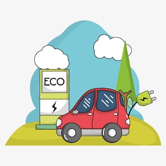 Carro elétrico com cabo de alimentação e estação de recarga de energia