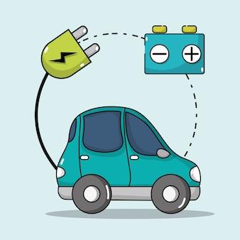 Carro elétrico com cabo de alimentação para carregar bateria