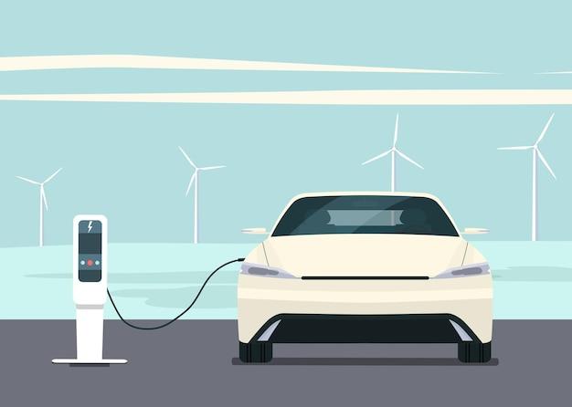 Carro elétrico com paisagem e turbinas eólicas.