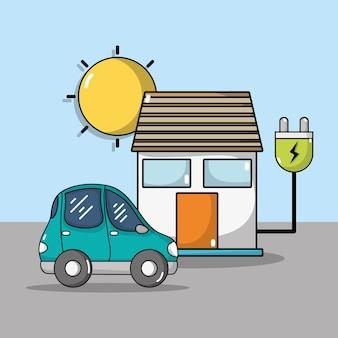 Carro elétrico e casa com cabo de alimentação