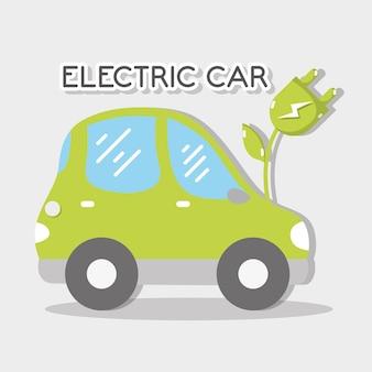Carro elétrico ecológico com cabo de alimentação