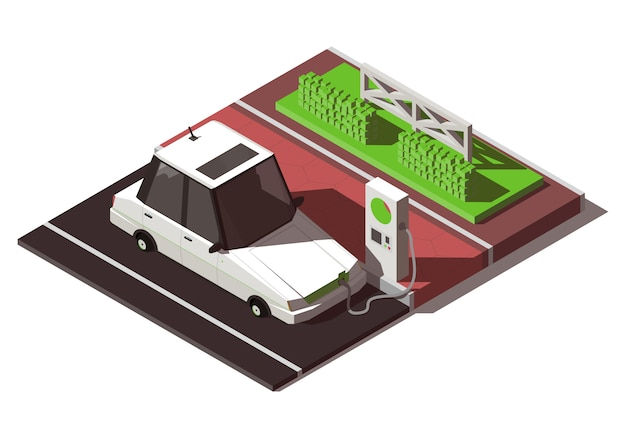 Carro elétrico isométrico com estação de carregamento