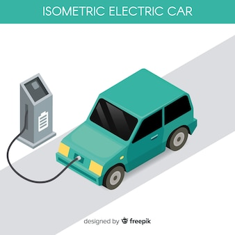 Carro elétrico isométrico