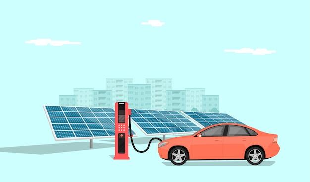 Carro elétrico moderno carregando na estação do carregador em frente aos painéis solares, o horizonte de uma cidade grande ao fundo, ilustração do estilo