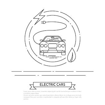 Carro elétrico moderno com cabo, plug.