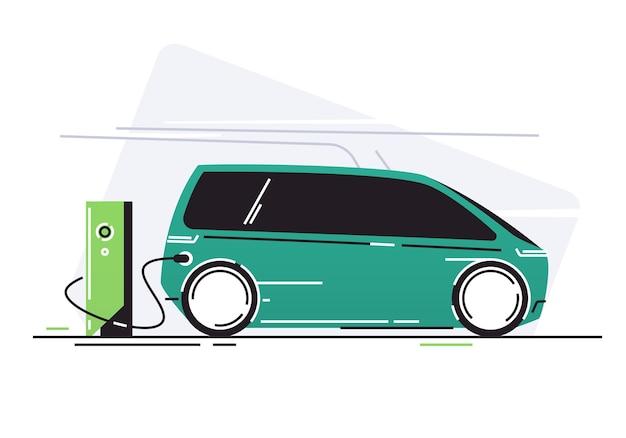 Carro elétrico na estação de carregamento de veículos.