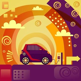 Carro elétrico no conceito de estação de carregamento