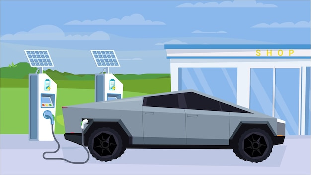Carro elétrico no conceito de estação de reabastecimento no exterior da estação de projeto plana dos desenhos animados com painéis solares ...