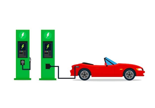 Carro elétrico que carrega na estação do carregador. ilustração vetorial, design plano.