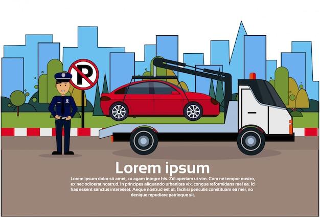 Carro, em, reboque, zona ausente, de, estacionamento, veículo, evacuação, vista