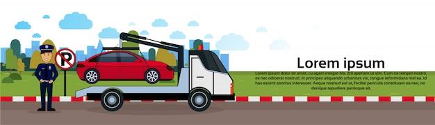 Carro, em, reboque, zona, de, estacionamento veículo, evacuação, vista, bandeira horizontal