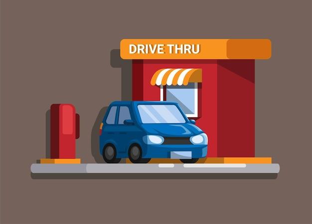 Carro em restaurante de fast food drive thru