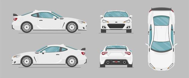 Carro esporte branco de diferentes lados