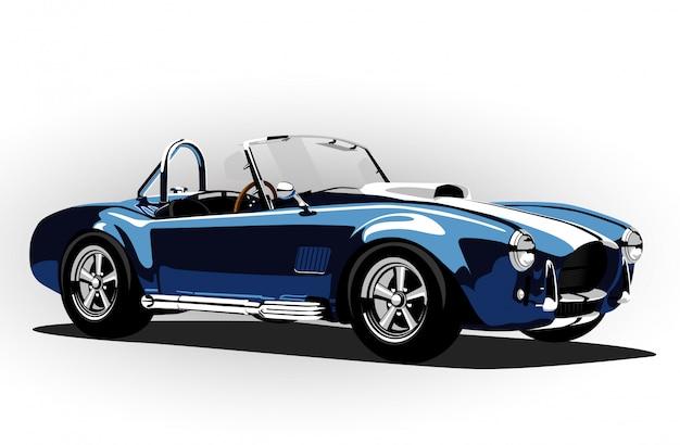 Carro esporte clássico cobra roadster azul