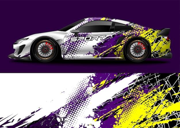 Carro esporte de corrida. embrulhe o adesivo com o decalque e a pintura do veículo.