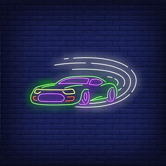 Carro esporte, dirigindo o sinal de néon rápido