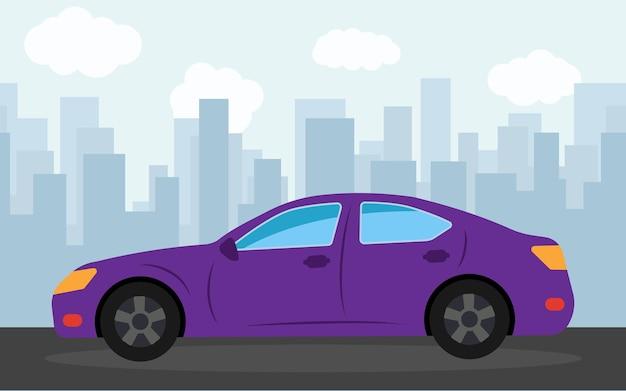 Carro esporte roxo no fundo dos arranha-céus à tarde. ilustração vetorial.