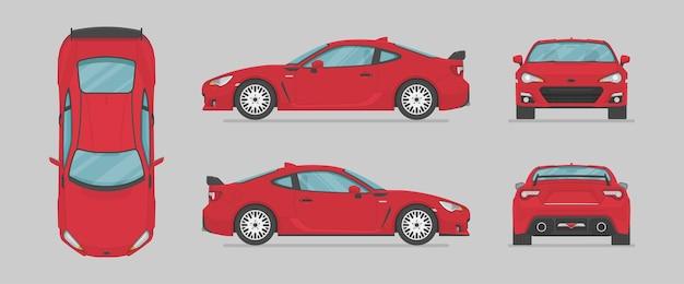 Carro esporte vermelho de diferentes lados