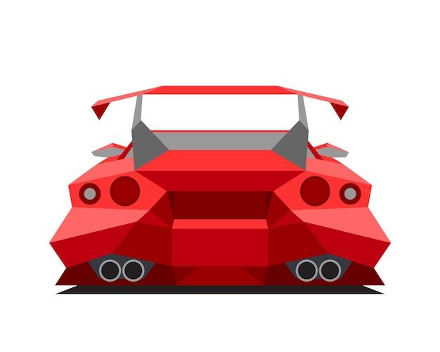 Carro esporte vermelho isolado no fundo branco. visão traseira. ilustração abstrata do vetor poligonal.
