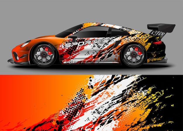 Carro esportivo de corrida com adesivo envolvente
