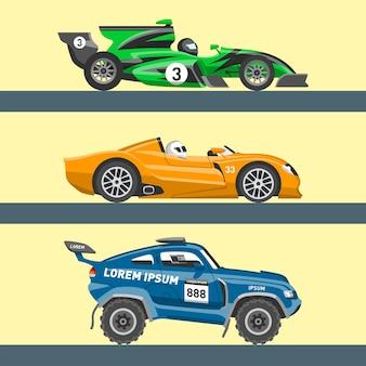 Carro esportivo de corrida de velocidade e carro de rali offroad