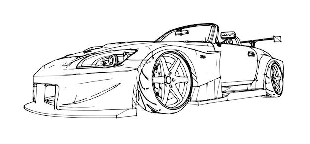 Carro esportivo. ilustração conservada em estoque no estilo de gráficos lineares desenhados à mão.