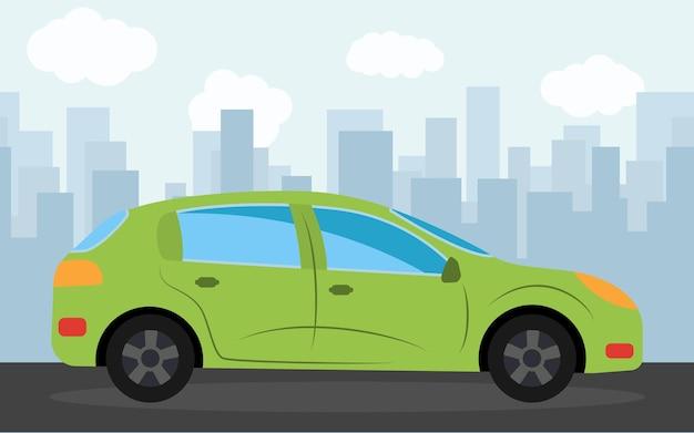 Carro esportivo verde no fundo dos arranha-céus à tarde. ilustração vetorial.