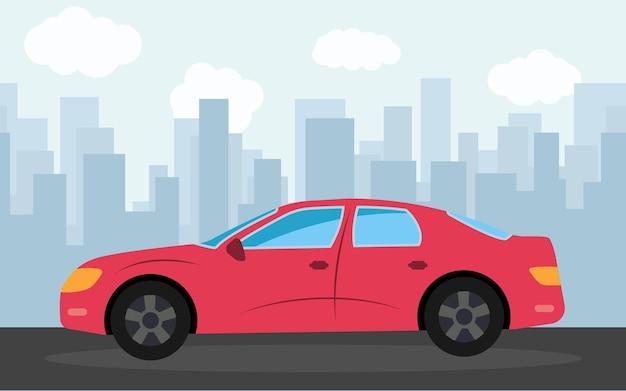 Carro esportivo vermelho no fundo dos arranha-céus à tarde. ilustração vetorial.