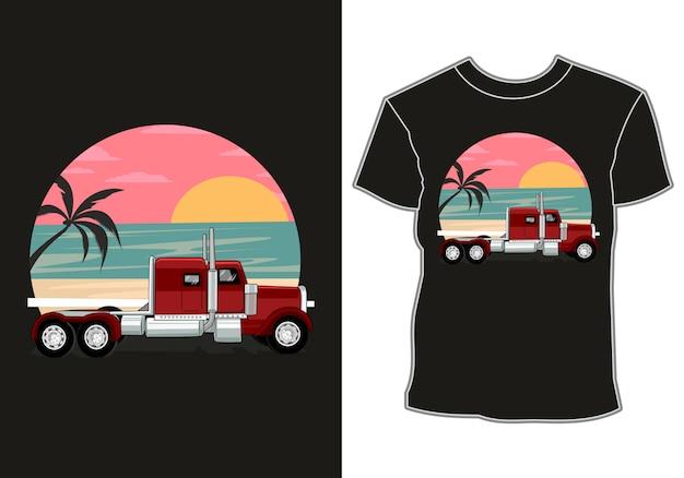 Carro está estacionado em frente ao mar com vista para o pôr do sol e coqueiros, design de camisetas