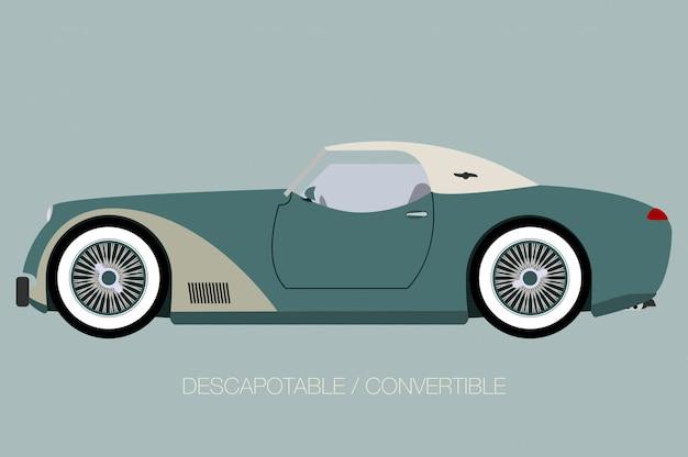 Carro europeu clássico, vista lateral do carro, automóvel, veículo a motor