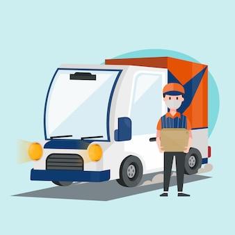 Carro expresso de entrega com funcionários segurando grande parcela. veículo de caminhão. design de personagens de ilustração.