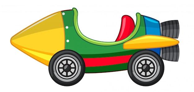Carro foguete na cor verde e amarelo
