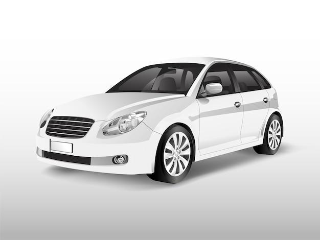 Carro hatchback branco isolado no branco vector