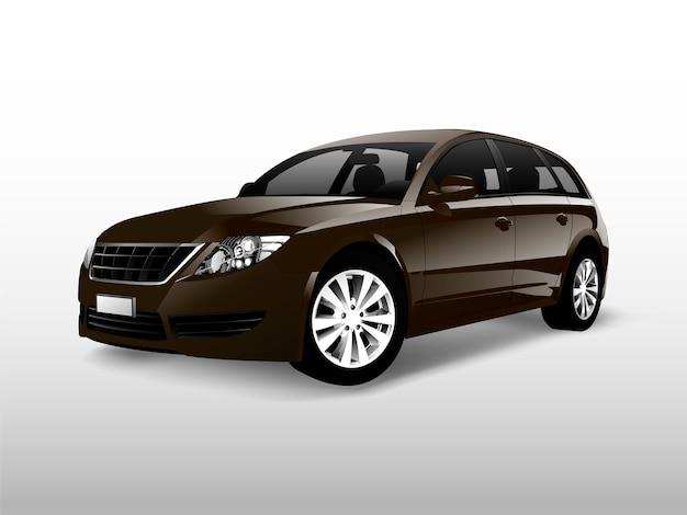Carro hatchback marrom isolado no branco vector