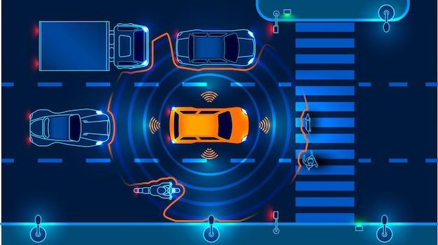Carro inteligente autônomo vai na estrada no trânsito. escaneia a estrada, observe a distância
