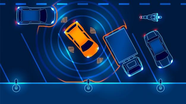 Carro inteligente é automaticamente estacionado no estacionamento, a vista do topo