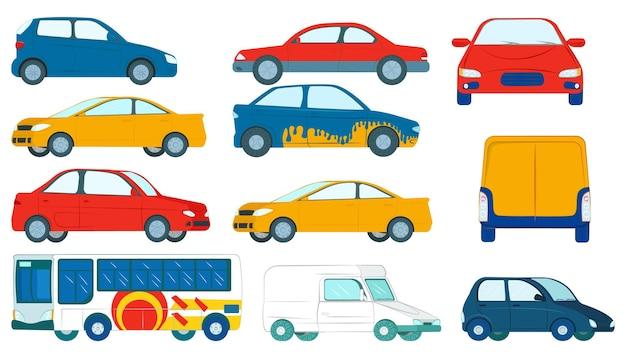 Carro isolado no branco conjunto ilustração vetorial colorido liso veículo automóvel transporte com roda ...
